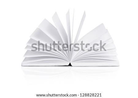 open book on white background with clipping path - stock photo
