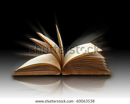 open book on white reflect floor - stock photo