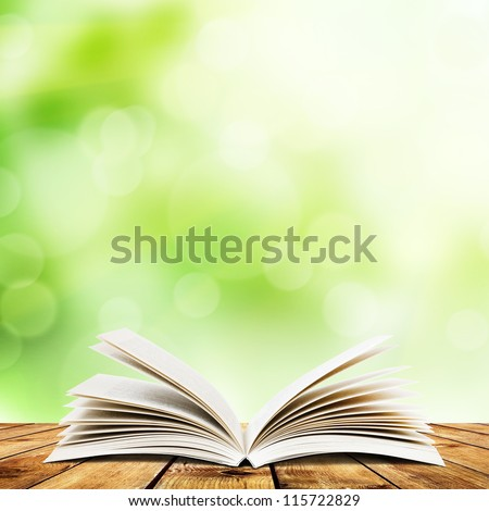 Open book on wood planks over abstract light background - stock photo
