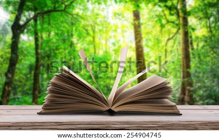 Open book  on wood table in green forest - stock photo