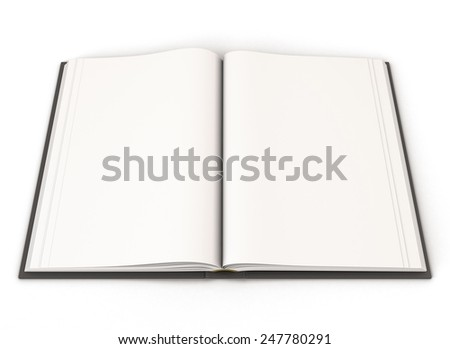 Open book with a black cover isolated on white baclground. 3d render image.
