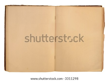 Open book with a blank background isolated on white - stock photo
