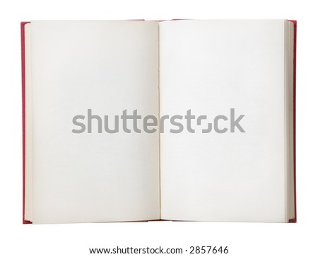 Open book with blank pages. Isolated on a white background. - stock photo