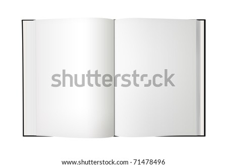 Open book with blank pages, isolated on a white background. - stock photo