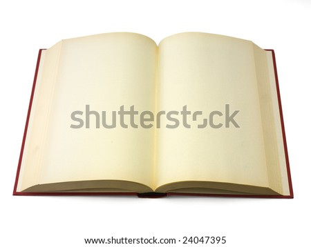 Open book with blank pages isolated on white.