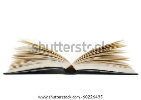open book with blank pages isolated on white background, view from bottom
