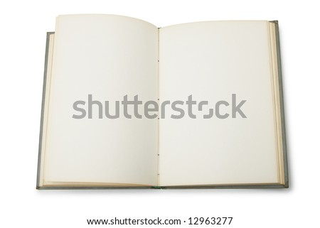 Open book with blank pages isolated over white background