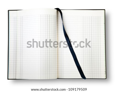 Open book with blue bookmark on white with shadow (clipping path) - stock photo