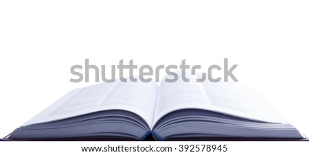 Open book with blurred pages (in blue tones, with copy space for your text) - stock photo