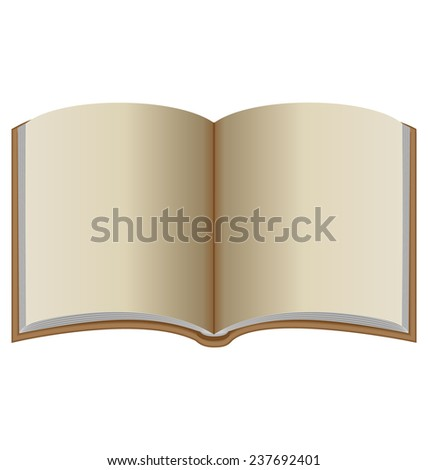Open book with brown cover isolated on white background - stock photo