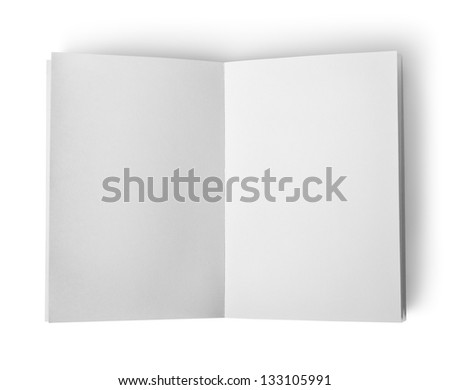 Open book with clean sheets isolated on white background - stock photo