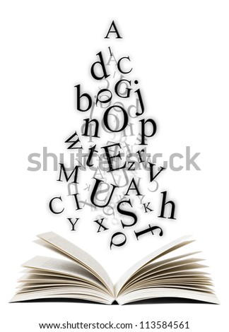 Open book with falling letters over white background - stock photo