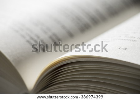 Open book with focus on the right page