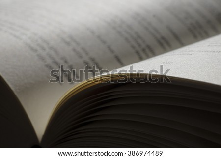 Open book with focus on the right page - stock photo