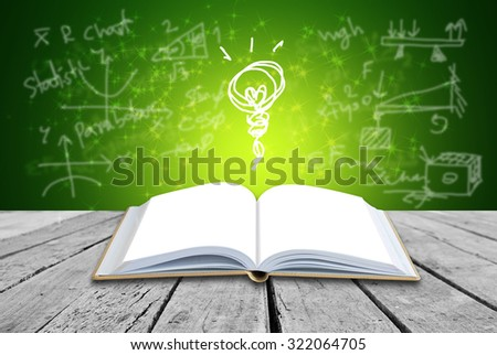 Open book with formulas background