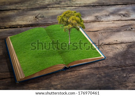 Open book with grass and tree growth on wood table - stock photo