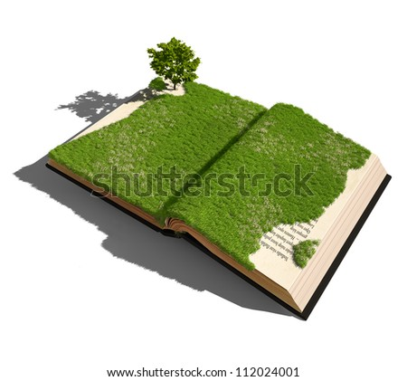 open book with grass and tree. illustrated concept - stock photo
