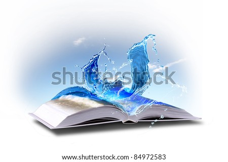 Open book with green nature world coming out of its pages - stock photo