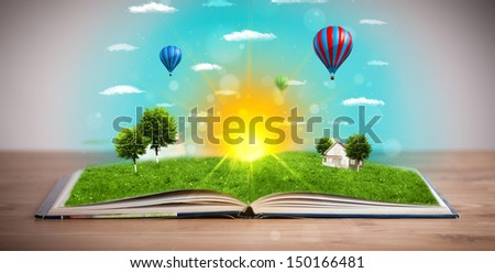 Open book with green nature world coming out of its pages, ecological concept
