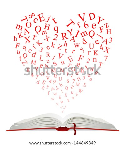 Open book with heart of letters for education design. Vector version also available in gallery - stock photo