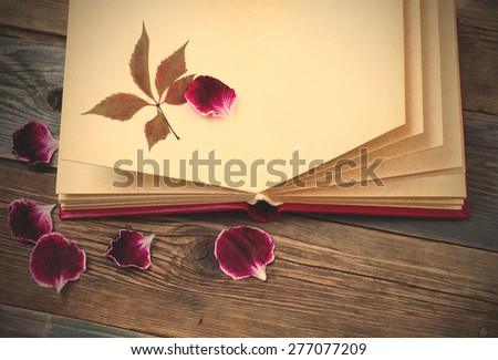 open book with herbarium leaves and petals of geraniums on the page. Still on the old wooden textured boards. instagram image filter retro style - stock photo