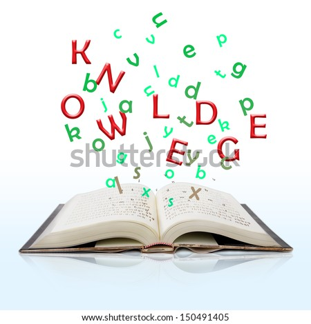 open book with knowledge text come out from it isolated on white background - stock photo