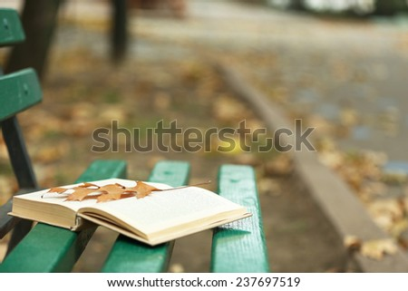 Open book with leaf lying on the bench in autumn park - stock photo