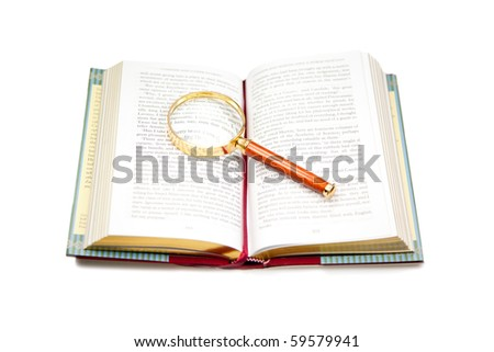 Open book with magnifying glass isolated on white. - stock photo