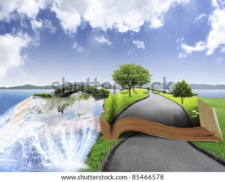 Open book with nature - stock photo