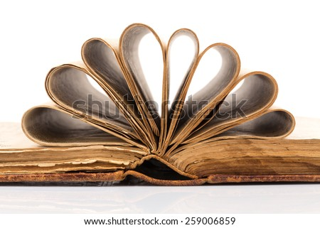 Open book with reflection isolated on white background - stock photo