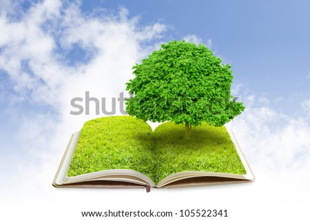 Open book with tree on green grass field and sky - stock photo