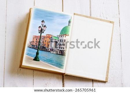 Open book with Venice image and empty page. Multiple exposure effect was applied. - stock photo