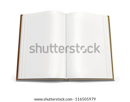 Open book with white pages. Isolated on white background. 3d render
