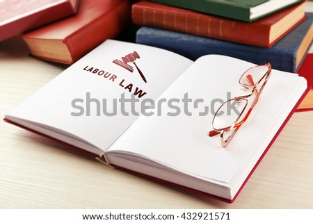 Open book with words labour law