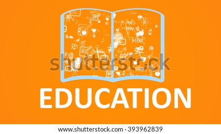 Open books and icons of science and education. The concept of modern education - stock photo