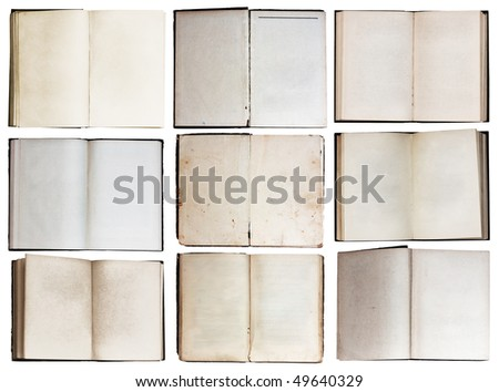 open books set isolated on white background with clipping path - stock photo