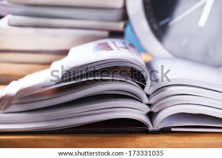 open books stack close up - stock photo