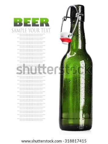 open bottle of beer on a white background. Text example and removed - stock photo