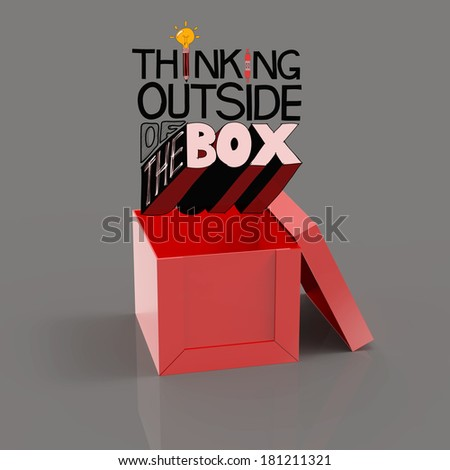 open box 3d and design word THINKING OUTSIDE OF THE BOX as concept - stock photo