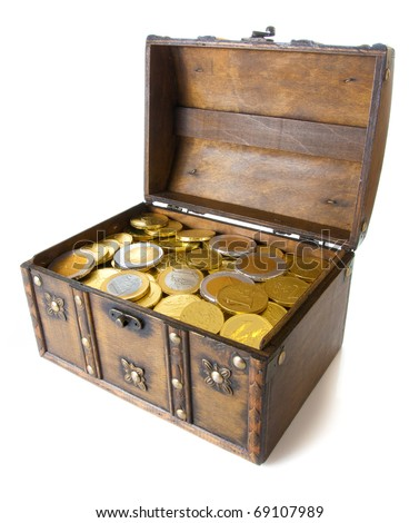 Open box full with gold euro money - stock photo