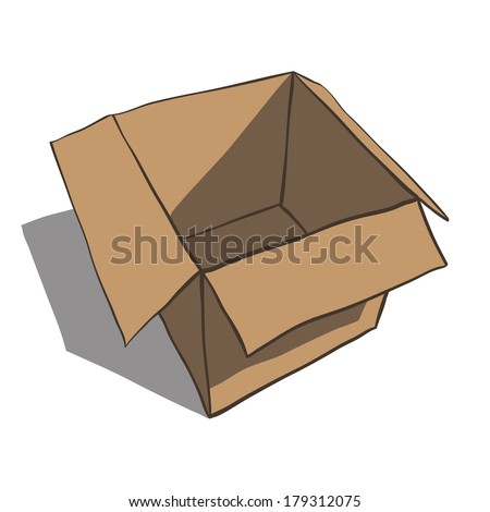 Open box isolated on white background. Cartoon illustration. Rasterized copy .Vector version of this image can also be found in portfolio. - stock photo