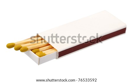 Open box of matches, isolated on a white background - stock photo