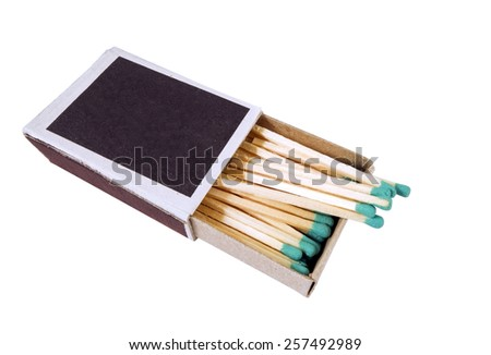 Open Box of Matches on White Background - stock photo