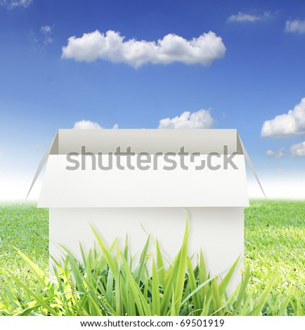 Open box on a grass - stock photo