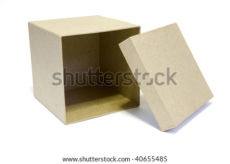 Open box on white background - stock photo