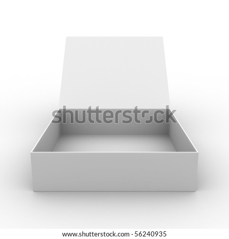 Open box on white background. Isolated 3D image - stock photo