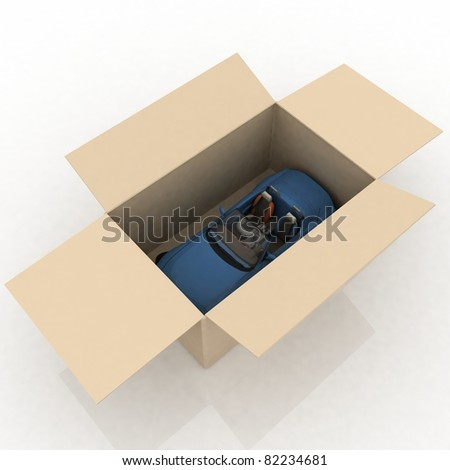 open box with inside a new car - stock photo