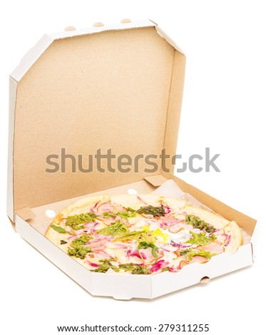 Open box with pizza isolated on white background. Fast food background - stock photo