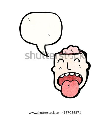 open brain head cartoon - stock photo