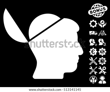 Open Brain pictograph with bonus tools clip art. Glyph illustration style is flat iconic white symbols on black background.